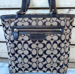 Coach Signature Penelope F14693 Shoulder Tote Handbag Grey/ Black
